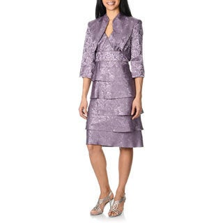 R & M Richards Women's Orchid Tiered Jacquard Dress and Jacket Set