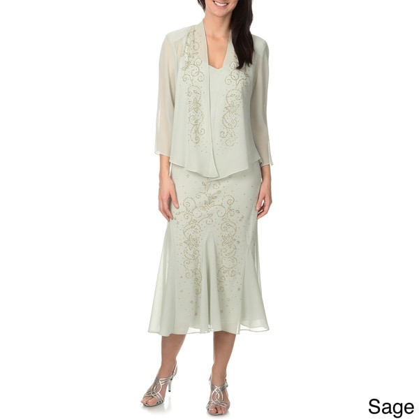 R & M Richards Women's Beaded Embellished 2-piece Dress Set in size 10 in Sage (As Is Item)