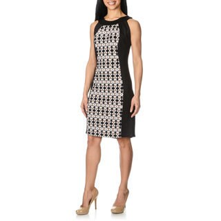 R&M Richards Women's Black/ Taupe Abstract Print Panel Dress
