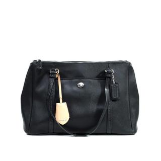 Coach 'Peyton' Black Leather Jordan Double Carryall Bag