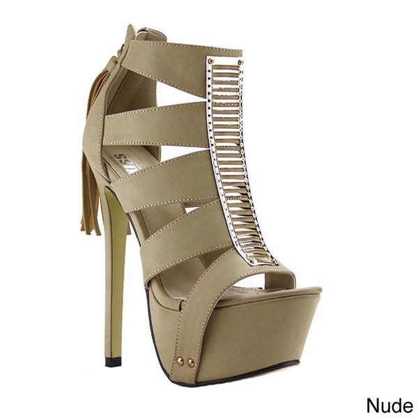 Red Kiss Women's 'Cleopatra' Gladiator Platform High-heel