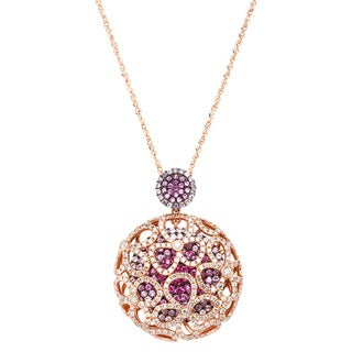 18k Rosegold 1-5/8ct Brown Diamond and 2-1/4ct Pink Sapphire Floral Design Necklace