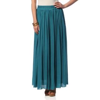 Hadari Women's Turquoise Ruched Maxi Skirt