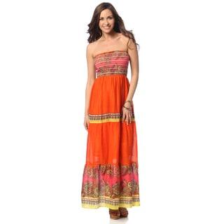 Hadari Women's Paisley Print Strapless Maxi Dress