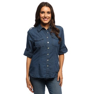 Live A Little Women's Polka-dot Navy Roll Sleeve Shirt