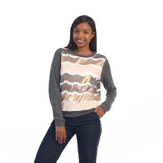 Hadari Women's Ivory Sequin-striped Sweater