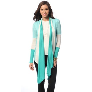 Women's Aqua Colorblocked Open Cardigan