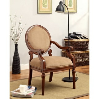 Furniture of America Zarbes Fabric Upholstered Dark Oak Accent Chair