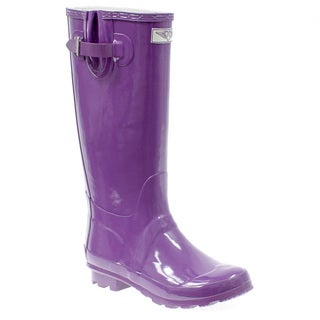 Women's Purple Mid-calf Block Heel Rain Boots