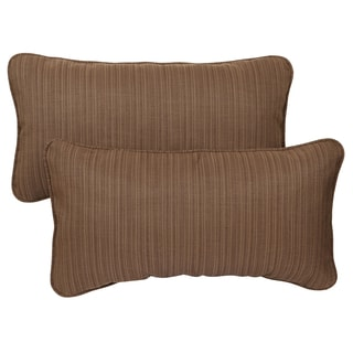 Textured Brown Corded 12 x 24 inch Indoor/ Outdoor Lumbar Pillows with Sunbrella Fabric (Set of 2)