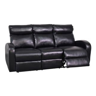 Black Soft Bonded Leather Reclining Sofa