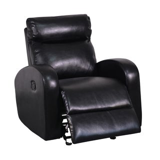 Black Soft Bonded Leather Glider Recliner