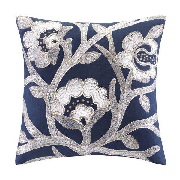 Echo Design African Sun Cotton Square Floral Embroidered Throw Pillow