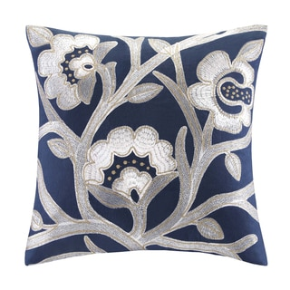 Echo African Sun Cotton Square Floral Embroidered Throw Pillow