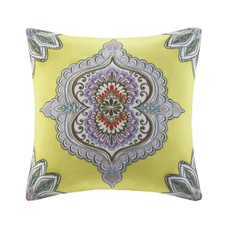 Echo Rio Cotton Square Throw Pillow with Embroidered Medallion