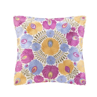 Echo Laila Cotton Square Throw Pillow with Floral Embroidery