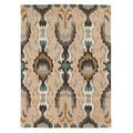 Trio Collection Multi Ikat Beige Area Rug (5' x 7')