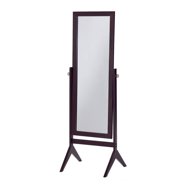 Cheval espresso finish wooden bedroom floor mirror for Standing mirror for bedroom