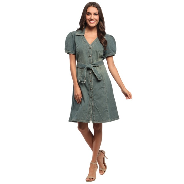 Women's Belted Denim Shirt Dress