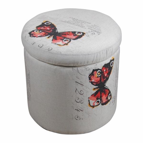 White Vintage Butterfly Stamped Round Storage Ottoman