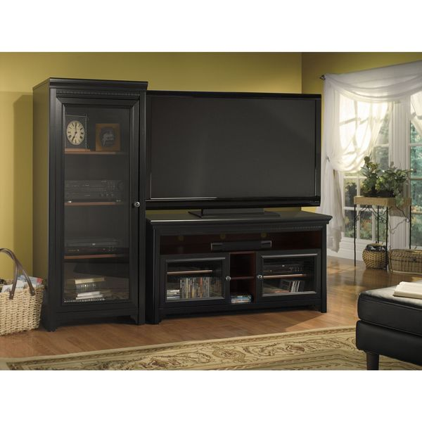 Bush Furniture Stanford Antique Black/ Hansen Cherry 60-inch Accent TV Stand and Audio Cabinet Set 12722913