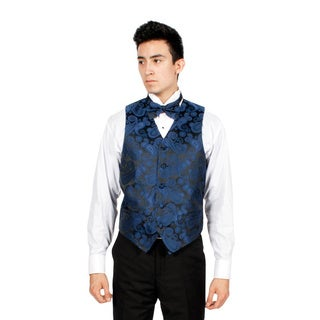 Ferrecci Men's Navy and Black Paisley 4-piece Vest Set