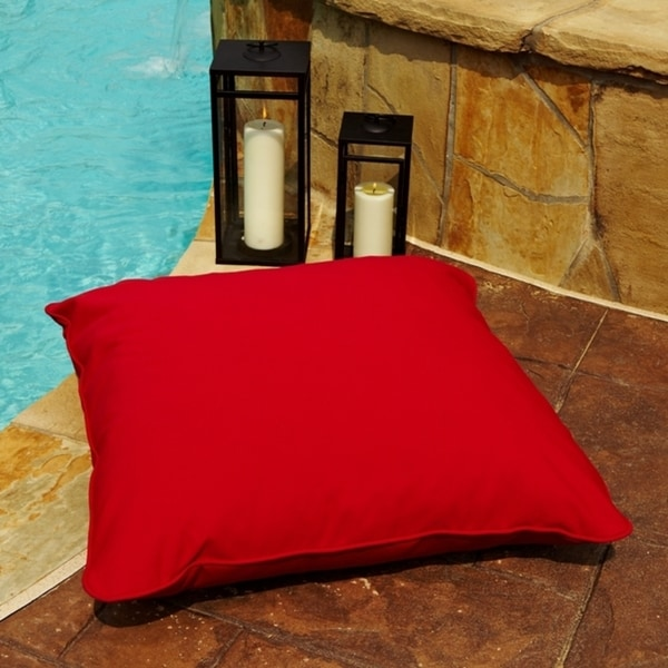Vibrant Red Indoor/ Outdoor 28-inch Square Floor Pillow with Sunbrella Fabric