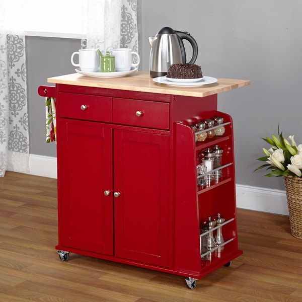 Simple Living Red Sonoma Kitchen Cart 16148028 Shopping Great Deals On
