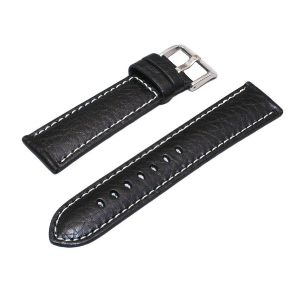 Hadley Roma Genuine Leather Black Watch Strap with Contrast Stitching