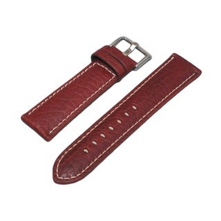 Hadley Roma Genuine Leather Tan Watch Strap with White Contrast Stitching