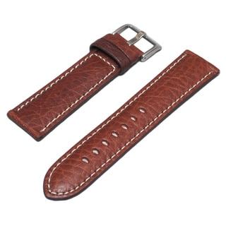 Hadley Roma Genuine Leather Brown Watch Strap with Contrast Stitching