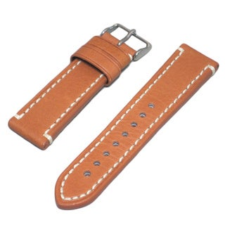 Genuine Leather Tan Watch Strap with Contrast Stitching