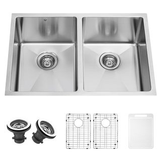 Vigo 29-inch Undermount Stainless Steel 16-gauge Stainless Steel Double Kitchen Sink, Grids and Strainers Set