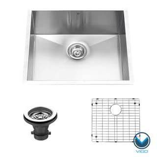 Vigo 23-inch Undermount Stainless Steel 16-gauge Single Bowl Kitchen Sink, Grid and Strainer Set
