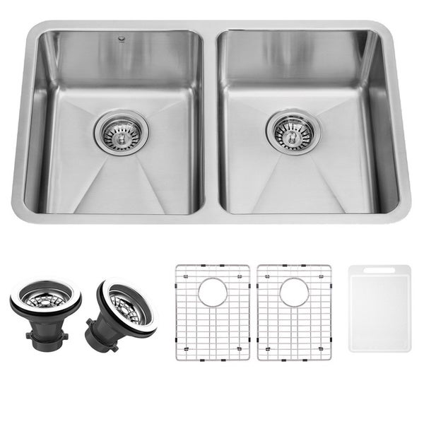 Vigo 29-inch Undermount Stainless-steel 16-gauge Double Bowl Kitchen Sink, Grids and Strainers Set