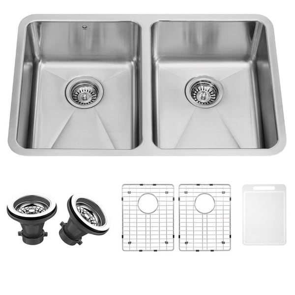 Vigo 29-inch Undermount Stainless-steel 16-gauge Double Bowl Kitchen Sink, Grids and Strainers Set