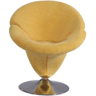 Chrome/Yellow Velvet Modern Swivel Arm Chair