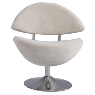 Chrome/White Velvet Modern Cresent Swivel Accent Chair
