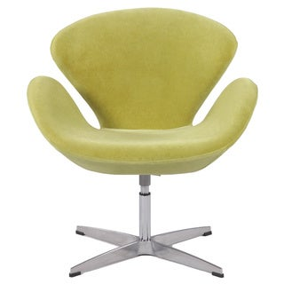 Aluminum Green Velvet Modern Swivel Accent Arm Chair