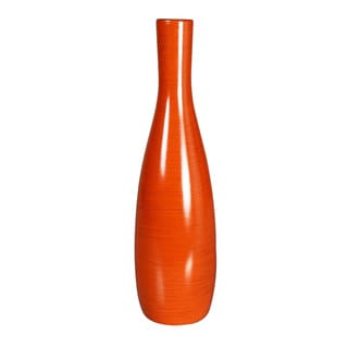 Vibrant Orange Decorative Wood Vase