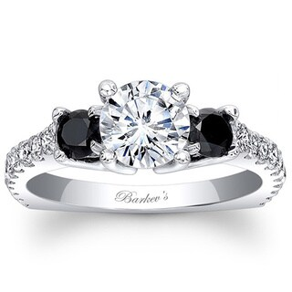 Barkev's Designer 14k White Gold 1 4/5ct TDW Black and White Diamond Engagement Ring (F-G, SI1-SI2)