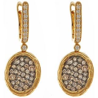 14k Yellow Gold 4/5ct TDW Brown and White Diamond Pave Dangle Earrings (H-I, SI1-SI2)