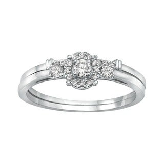 Beverly Hills Charm 14k White Gold 1/3ct TDW 3-stone Halo Bridal Ring Set (H-I, SI2-I1)