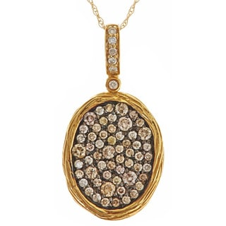 14k Yellow Gold 5/8ct TDW Brown and white Diamond Pave Oval Necklace (H-I, SI1-SI2)