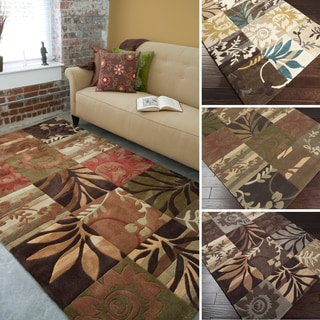 Hand-Tufted Floral Transitional Area Rug-(5' x 8')