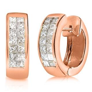 Annello 14k Rose Gold 5/8ct TDW Princess Diamond Cuff Earrings (G-H, VS1-VS2) with Bonus Item