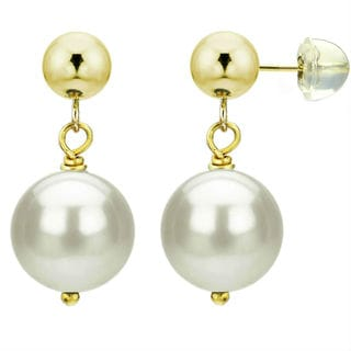 DaVonna 14k Yellow Gold White Cultured Pearl Dangle Earring (8-12 mm)