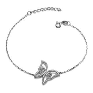 Collette Z Sterling Silver Cubic Zirconia Butterfly Bracelet