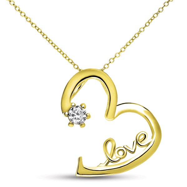 Collette Z Gold-plated Sterling Silver White Cubic Zirconia Heart 'LOVE' Necklace