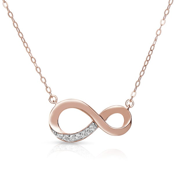 Collette Z Rose-plated Sterling Silver Cubic Zirconia Infinity Necklace